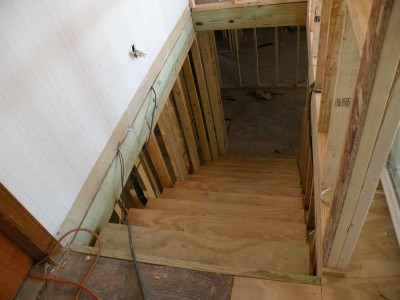 New four-foot wide stairway to second level